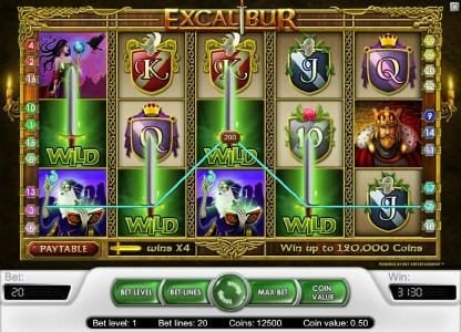Play slots at Chomp: Chomp featuring the Video Slots Excalibur with a maximum payout of $40,000