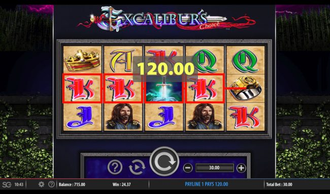 Queen Vegas featuring the Video Slots Excalibur's Choice with a maximum payout of $250,000