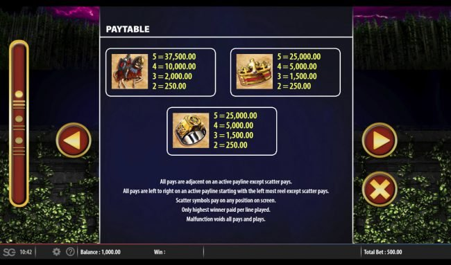 Karl Casino featuring the Video Slots Excalibur's Choice with a maximum payout of $250,000