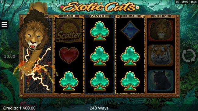 Betive featuring the Video Slots Exotic Cats with a maximum payout of $106,000