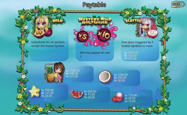 Jellybean Casino featuring the Video Slots Exotic Fruit with a maximum payout of $7,500
