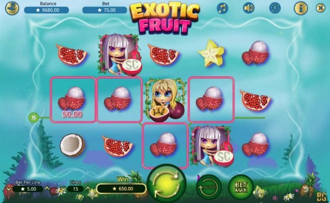 Casino Dingo featuring the Video Slots Exotic Fruit with a maximum payout of $7,500