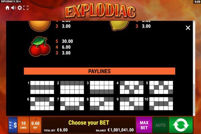 Explodiac :: Paylines 1-10