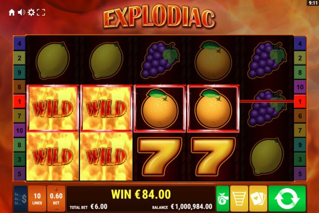 Explodiac :: Expanded wild triggers multiple winning paylines