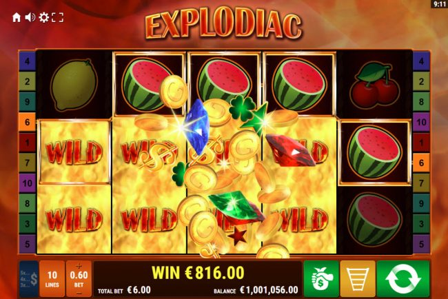 Explodiac :: Multiple winning paylines triggers a big win