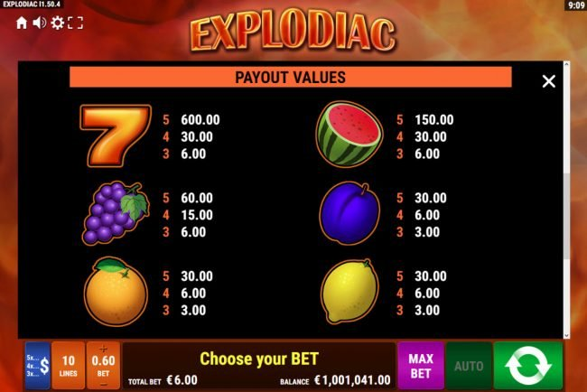 Explodiac :: Paytable