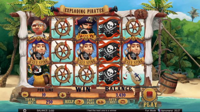 Exploding Pirates :: Scatter win triggers the free spins feature
