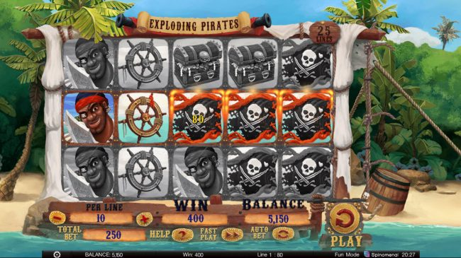Exploding Pirates :: Multiple winning paylines
