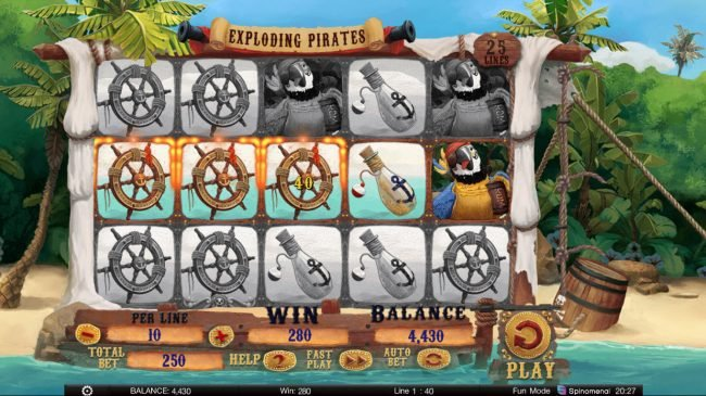 Exploding Pirates :: Multiple winning paylines triggers a big win