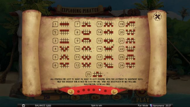 Exploding Pirates :: Paylines 1-25