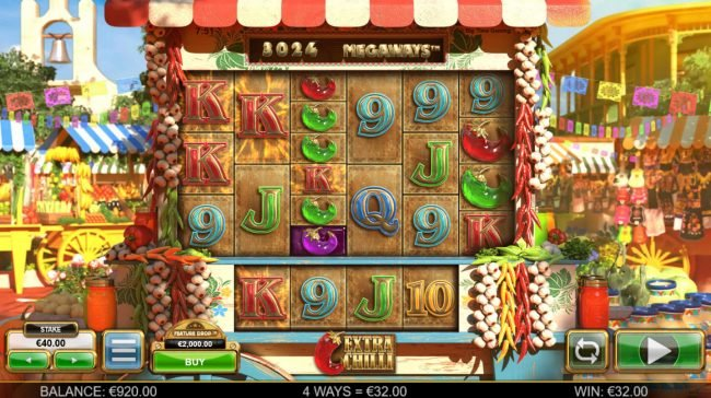 HippoZino featuring the Video Slots Extra Chilli Megaways with a maximum payout of $1,000,000