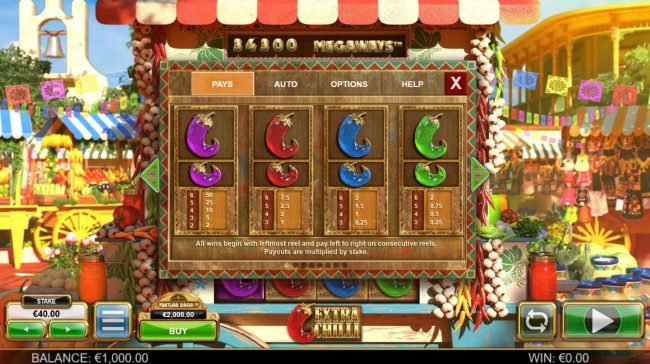 Yako Casino featuring the Video Slots Extra Chilli Megaways with a maximum payout of $1,000,000