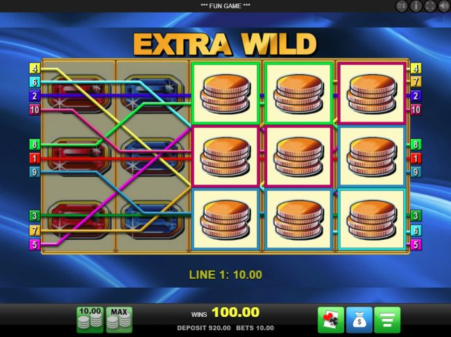 DruckGluck featuring the Video Slots Extra Wild with a maximum payout of $25,000
