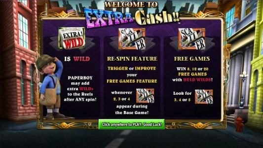 Northern Lights featuring the Video Slots Extra Cash with a maximum payout of $1,000
