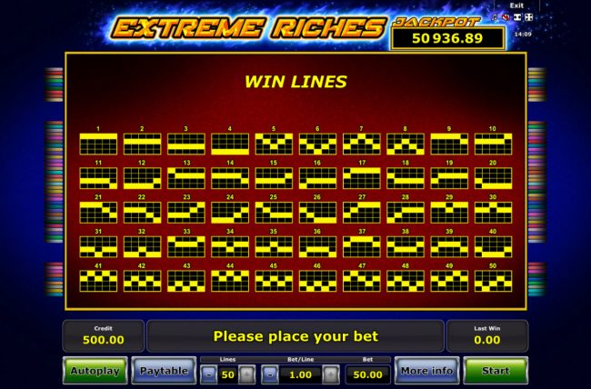 Extreme Riches :: Paylines 1-50