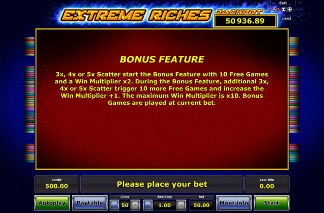 Extreme Riches :: Bonus Feature Rules