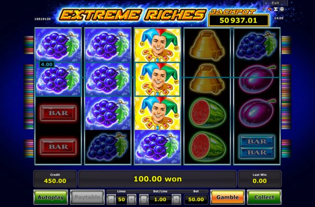 Extreme Riches :: Multiple winning paylines triggers a big win