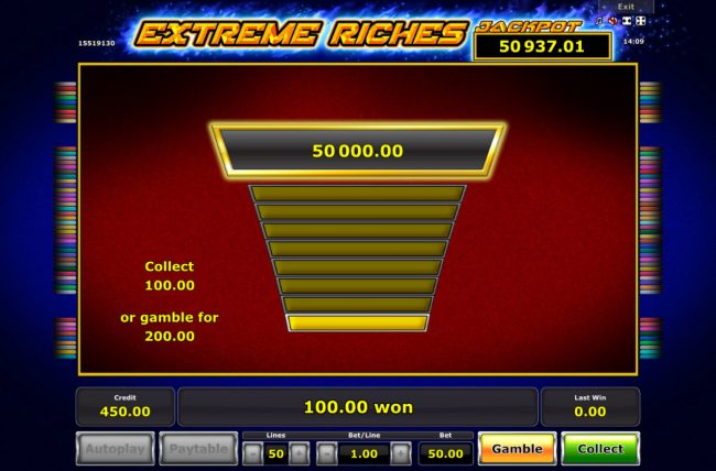Extreme Riches :: Ladder Gamble Feature Game Board