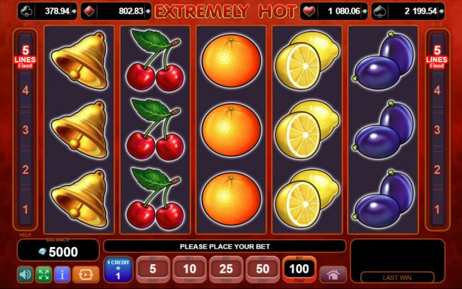 Buran featuring the Video Slots Extremely Hot with a maximum payout of $100,000