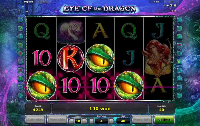 Eye of the Dragon :: Scatter win triggers the free spins feature