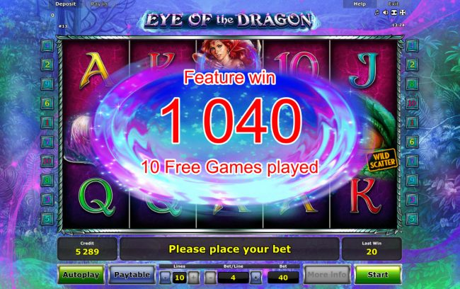 Eye of the Dragon :: Total Free Spins Payout