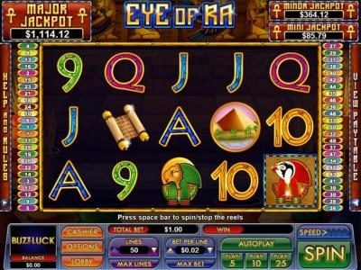 Slot Madness featuring the Video Slots Eye Of Ra with a maximum payout of $5,000