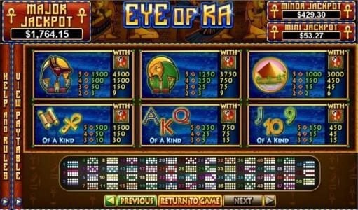 BuzzLuck featuring the Video Slots Eye Of Ra with a maximum payout of $5,000