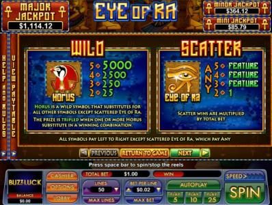 Play slots at Slot Madness: Slot Madness featuring the Video Slots Eye Of Ra with a maximum payout of $5,000