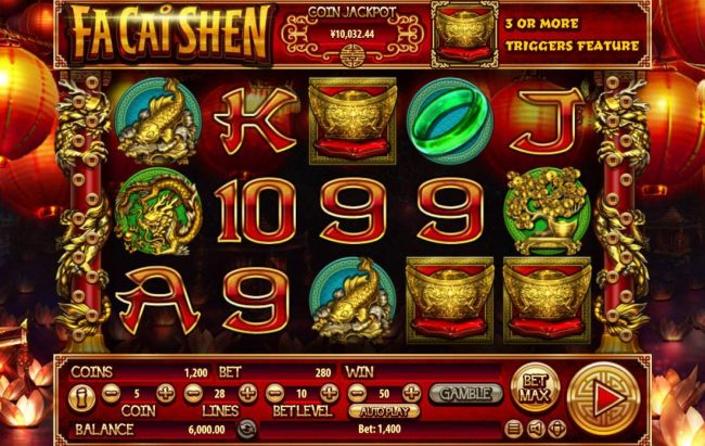 Buran featuring the Video Slots Fa Cai Shen with a maximum payout of $2,500,000