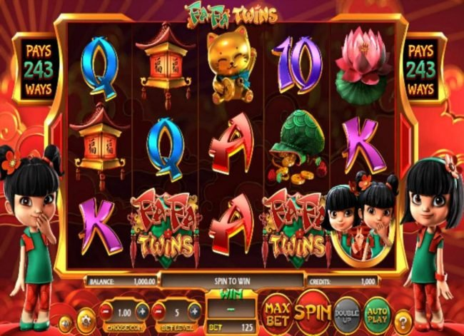 An Asian themed main game board featuring five reels and 243 winning combinations with a $810,000 max payout
