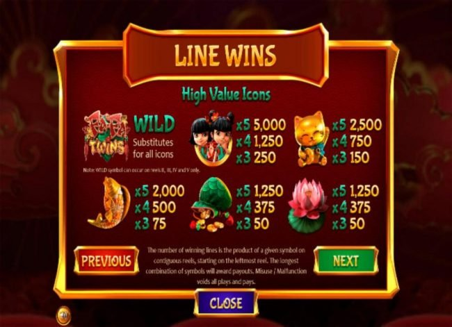 High value slot game symbols paytable featuring Asian inspired icons..