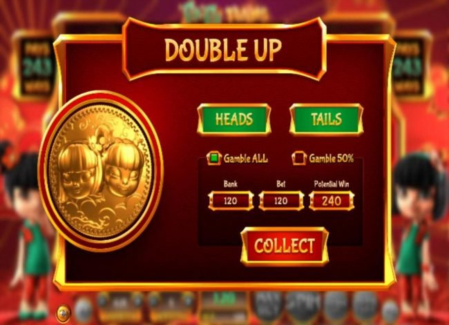 Double Up gamble feature is available after every winning spin. Select the heads or tails for a chance to double your winnings.