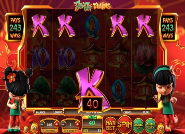 Orientxpress featuring the Video Slots Fa Fa Twins with a maximum payout of $810,000