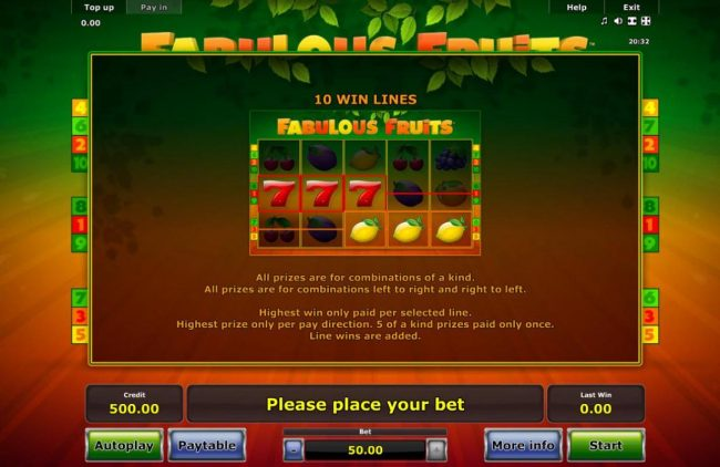 Fabulous Fruits :: All prizes are for combinations of a kind. All prizes are for combinations left to right and right to left. Highest win only paid per selected line. Highest prize only per pay direction. 5 of a kind prizes paid only once.