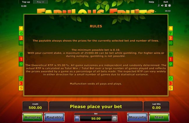 Money Storm featuring the Video Slots Fabulous Fruits with a maximum payout of $50,000