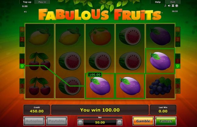 Fabulous Fruits :: The game pays in both directions, left to right and right to left.