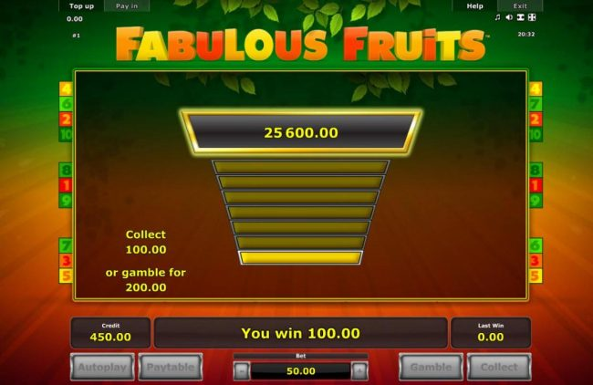 My Bet featuring the Video Slots Fabulous Fruits with a maximum payout of $50,000