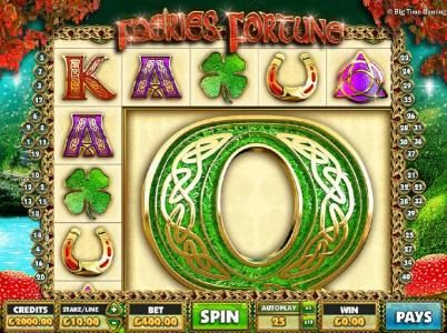 Faeries Fortune :: Main game board featuring five reels and 40 paylines with a $1,000 max payout
