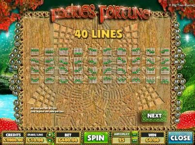 Faeries Fortune :: Payline Diagrams 1-40. All wins are paid left to right. only higest win paid per line.