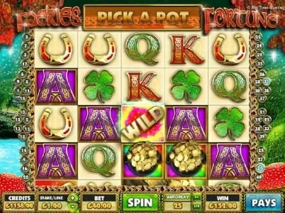 Faeries Fortune :: The Big Pots of Luck feature triggered on reels 3 and 4