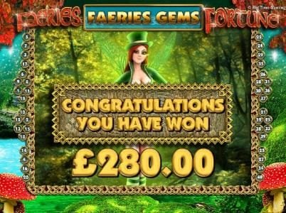 Faeries Fortune :: The Faeries Gems feature pays out a total prize award of 280.00 for a big win!