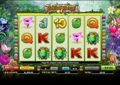 888 Casino featuring the Video Slots Fairies Forest with a maximum payout of $10,000