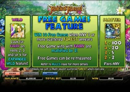 Enzo Casino featuring the Video Slots Fairies Forest with a maximum payout of $10,000