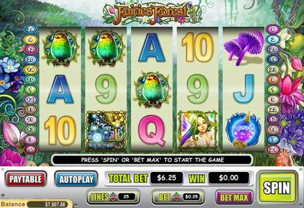 Liberty Slots featuring the Video Slots Fairies Forest with a maximum payout of $50,000