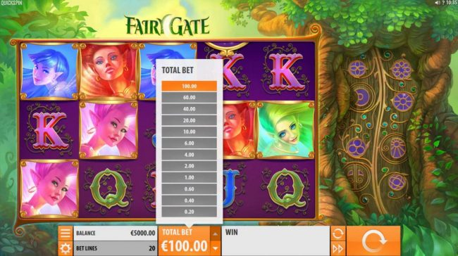 Rizk featuring the Video Slots Fairy Gate with a maximum payout of $40,000
