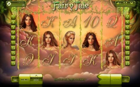 Fairy Tale :: Main game board featuring five reels and 20 paylines with a $500,000 max payout