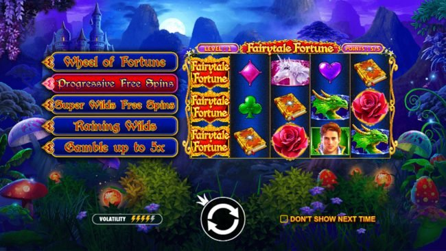 Spiral featuring the Video Slots Fairytale Fortune with a maximum payout of $37,500