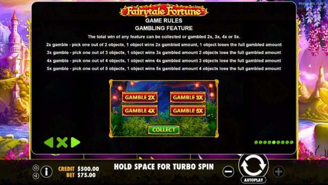 Vive Mon Casino featuring the Video Slots Fairytale Fortune with a maximum payout of $37,500
