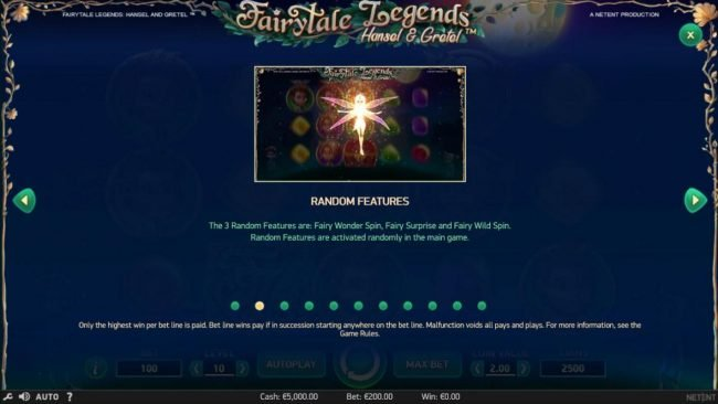 Sapphire Rooms featuring the Video Slots Fairytale Legends Hansel & Gretel with a maximum payout of $8,000