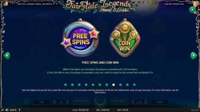 Casino Superlines featuring the Video Slots Fairytale Legends Hansel & Gretel with a maximum payout of $8,000